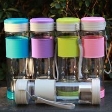 NUEVA Saludable Portátil de Viaje Deporte Botella de Agua de Té Sello con filtro Colador 550 ml Viajes Botella Con El Sello Botellas de color rosa 5 colores