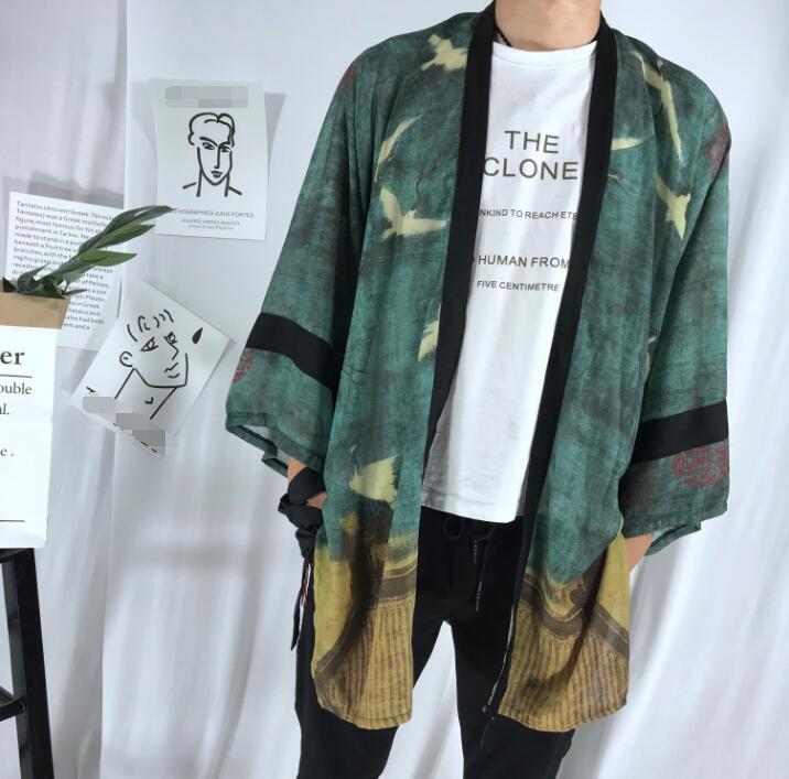 Fashion Chiffon Coat Japanese Kimono Cardigan Kimono Woman Man Loose Thin Outer Garment