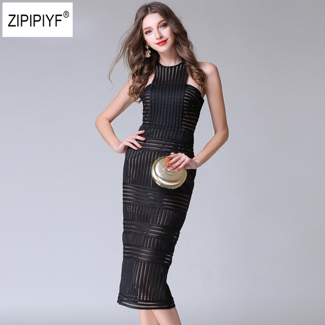 Womens Elegant Sexy Lace Patchwork Striped Slim Casual Wear to Work Office hollow out Sleeveless Party Bodycon Dress B1096