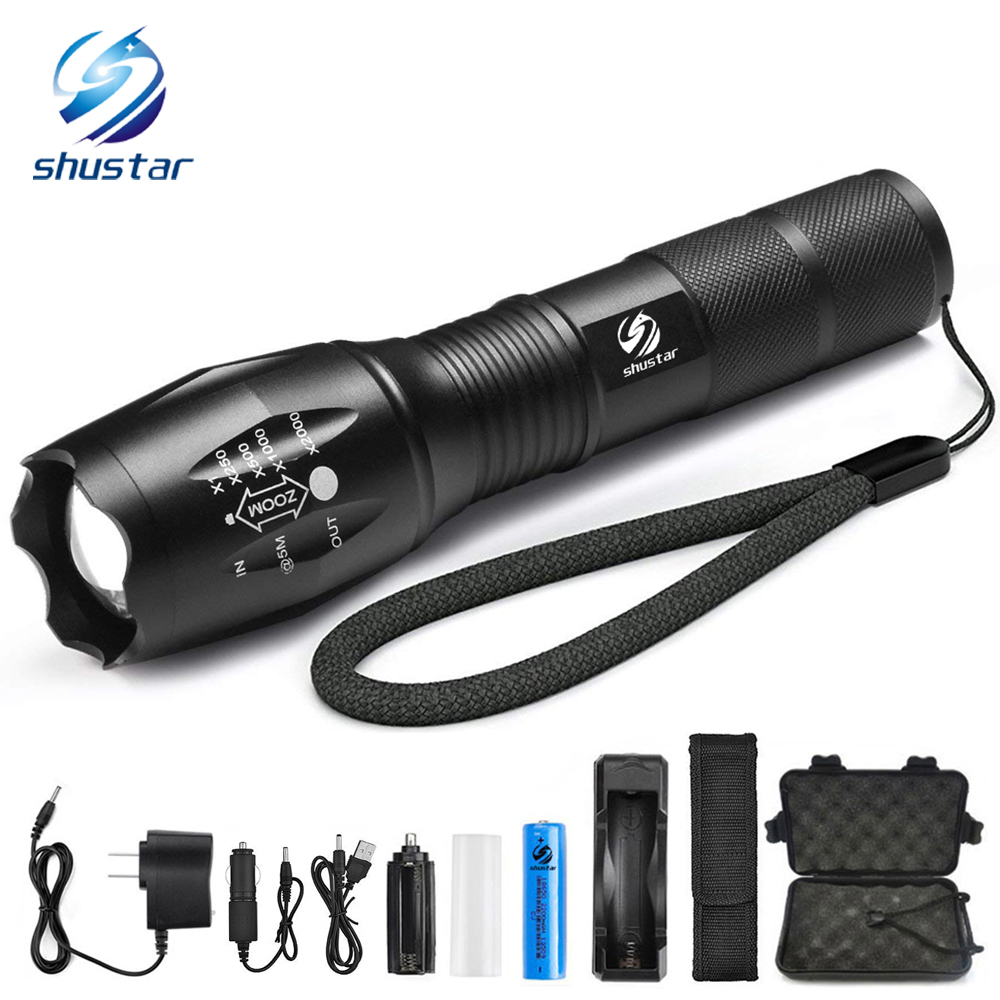 Ultra Bright LED Flashlight 8000 lumens CREE XML-T6/L2 torch Zoomable 5 modes flashlight + 18650 battery + charger + Free gift 8200 lumens flashlight 5 mode cree xm l t6 led flashlight zoomable focus torch by 1 18650 battery or 3 aaa battery