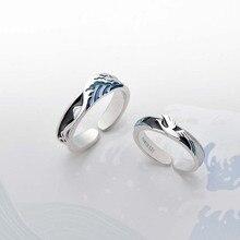 Thaya Anillo de Plata de Ley 925 con diseño de ave voladora, anillo de plata con ondas 3D en color azul, para parejas