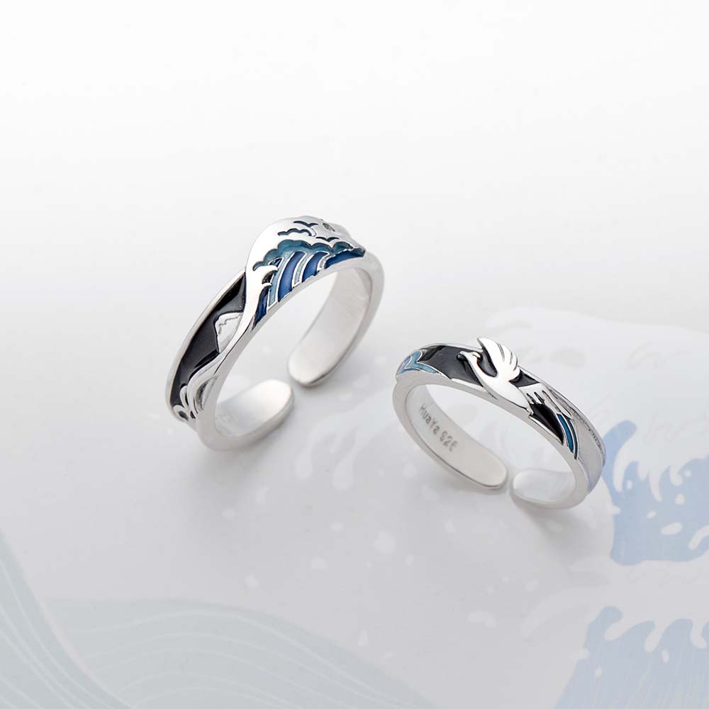Thaya Flying Bird Wave Ring S925 Silver Blue Drop Oil 3D Wave Couple Rings For Women Elegant Irish Fine Jewelry Lovers'Gift
