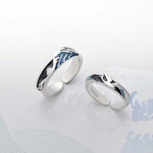 Thaya Flying Bird Wave Ring s925 Silver Blue Drop Oil 3D Couple Rings for Women Elegant Irish Fine Jewelry LoversGift