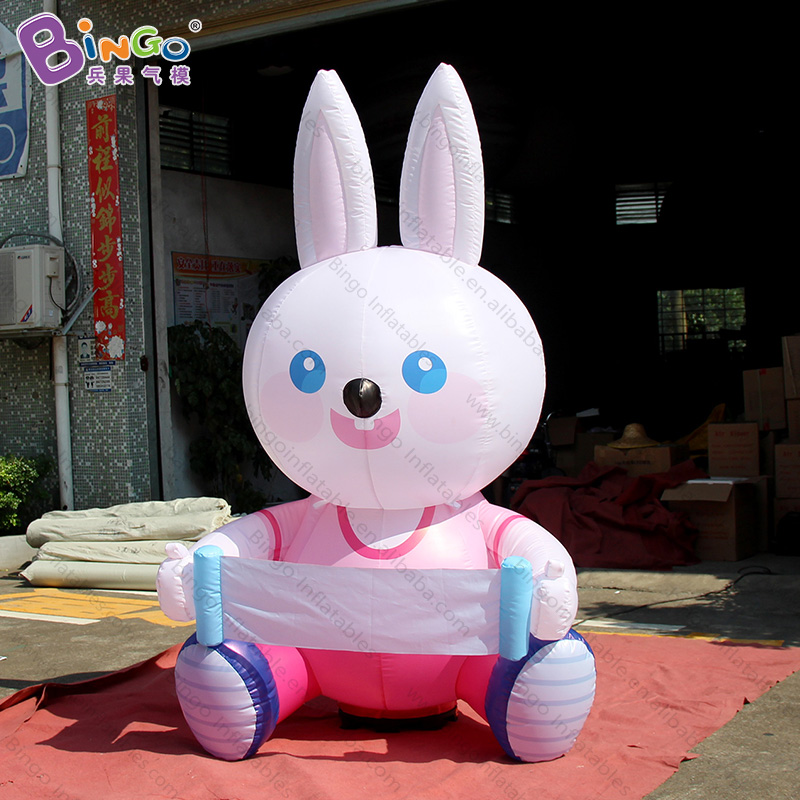 Personalized 2 Meters Tall Big Inflatable Rabbit Promotional Cartoon Type Blow Up Rabbit For Decoration Toys Factories And Mines