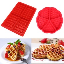 1PC Waffle Molds Non-stick Silicone Cake Chocolate Mold Donut Maker Fondant Baking Decorating Pan OK 0984