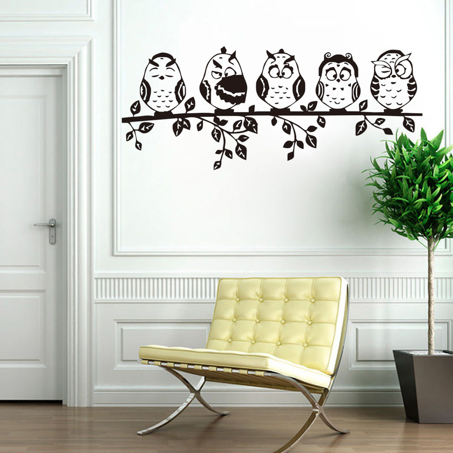 DCTOP Five Coffee Cute Baby Owl Funny Wall Stickers Animal ...