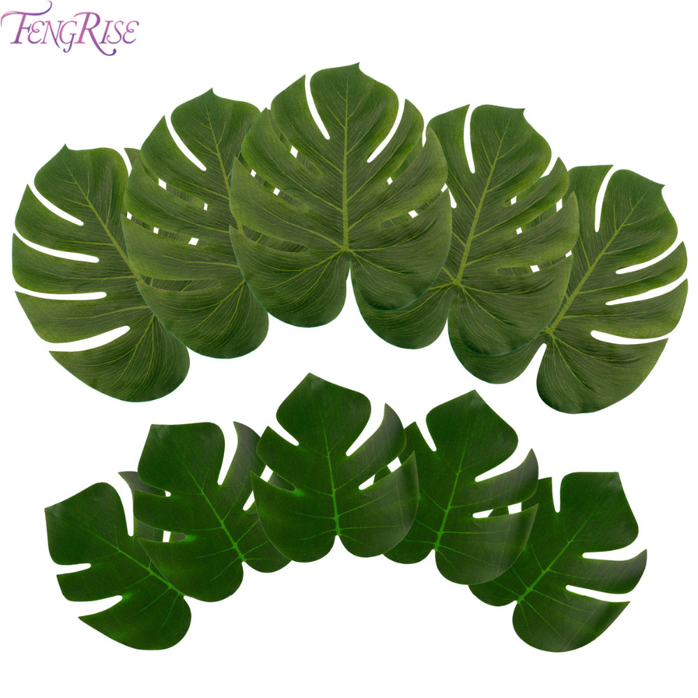 Buy fengrise large artificial leaves for Artificial banana leaves decoration