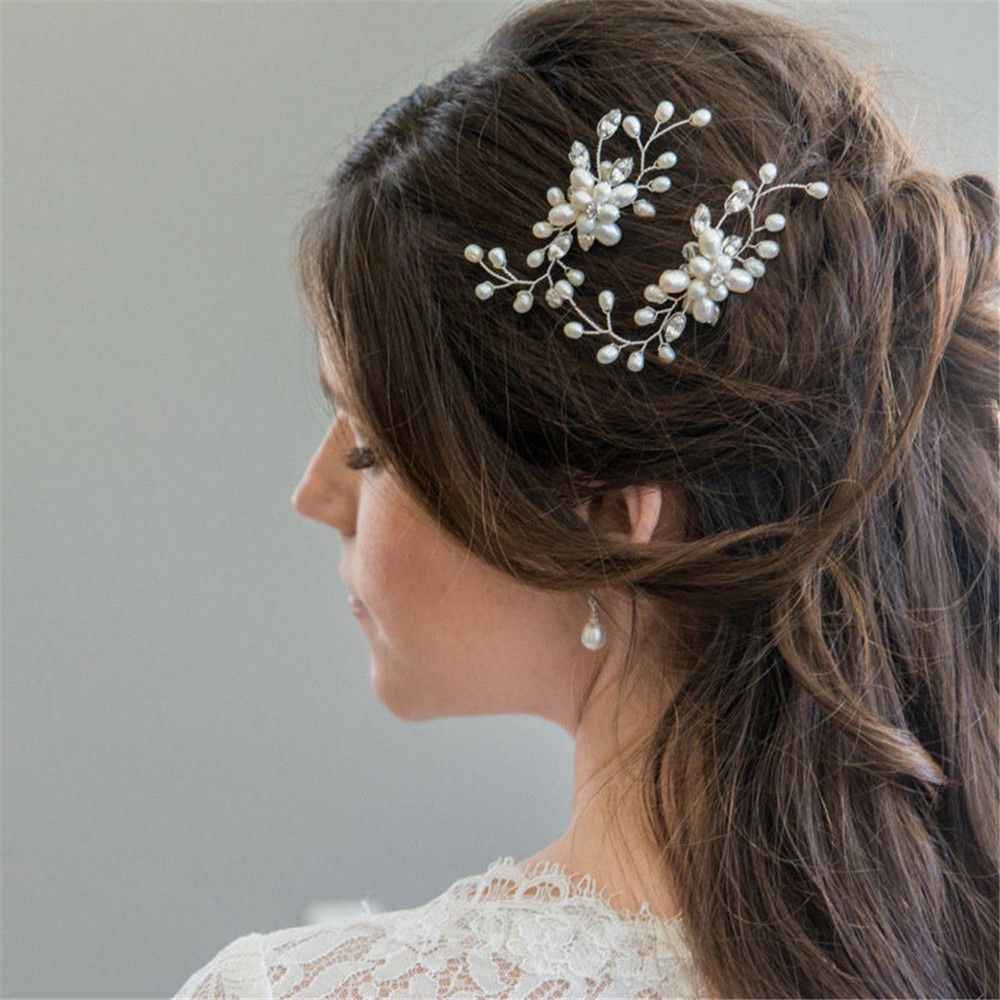 1Pcs Bridal Crystal Pearl Flower Hair Pins Wedding Party Pageant Hairpins Bridesmaid Bride Headpiece Hair Jewelry Accessories