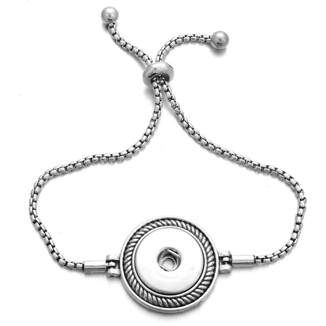 New Fashion Adjustable Chain Bracelets Metal Snap Bracelet Fit 18MM /12MM Snap Buttons DIY Snap Jewelry For Women ZE159