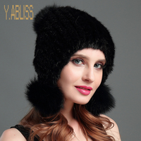 100 Real Mink Fur Hat For Women Knitted Mink Beanies Cap With Fur Pom Poms Balls