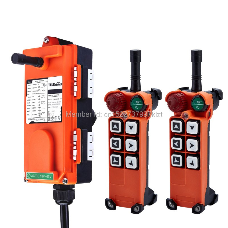 F21-E1(2 Transmitter+1 Receiver) UTING CE FCC Industrial Wireless Radio Single Speed 6 Buttons Remote Control for Hoist Crane wholesales f21 e1 industrial wireless universal radio remote control for overhead crane ac48v 1 transmitter and 1 receiver