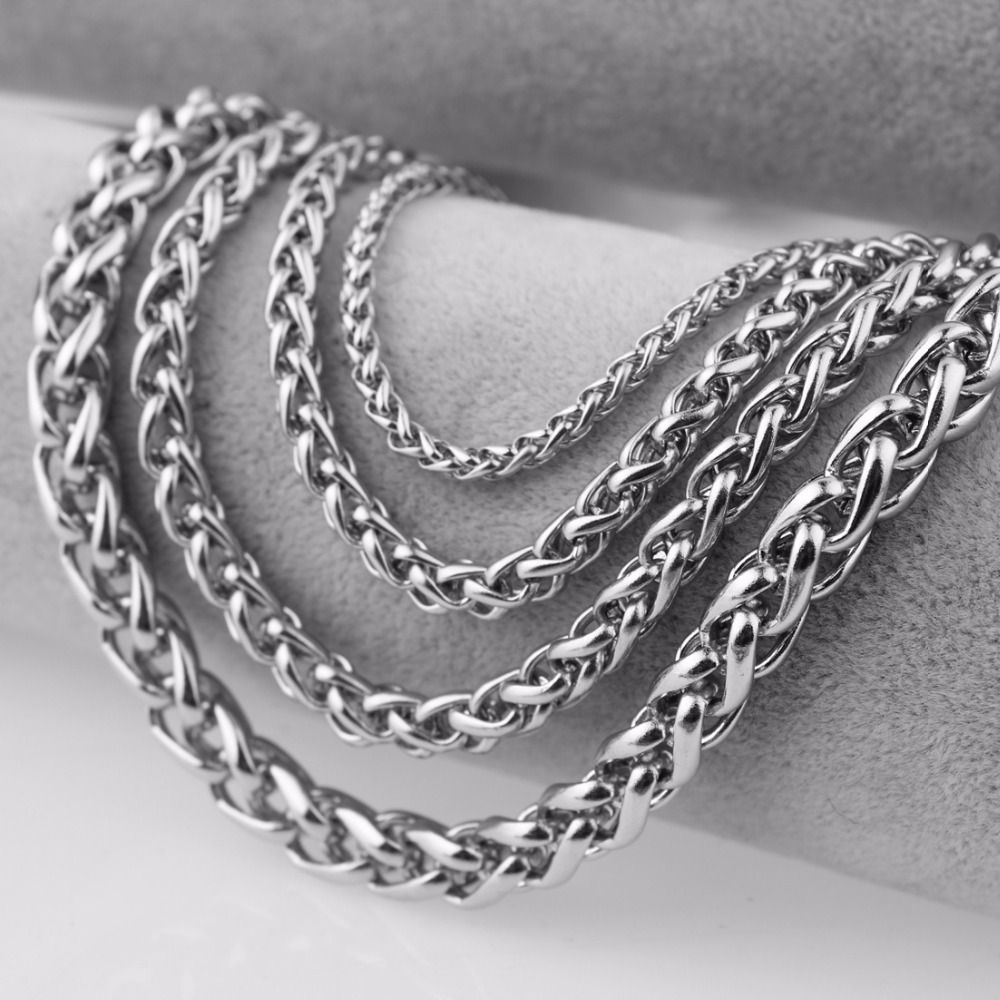 3/4/5/6/7mm Wide Silver Color Wheat Chain Necklace Women's Men's Stainless Steel Choker Jewelry 16-40 Inches Custom Size