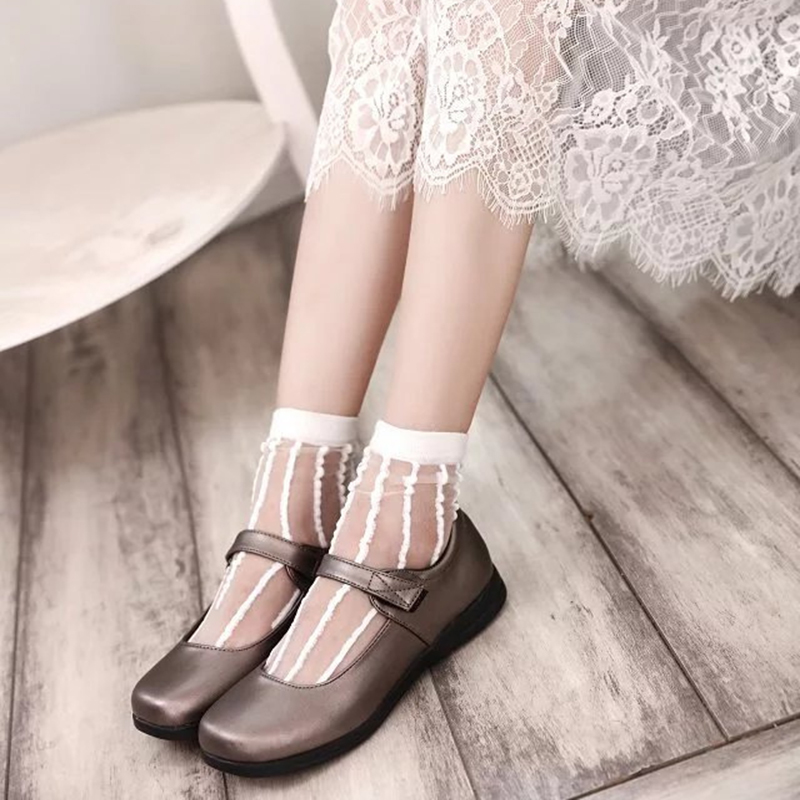 LoveLive Japanese Student Lolita Shoes Girl Shoes JK Commuter Uniform Shoes PU Leather Flat shoes