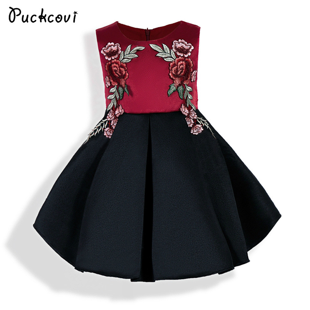 Puckcovi Baby girls Dress Kids clothes 2018 Summer princess dress Appliques party onepiece Red Vestidos Girls Wedding dresses