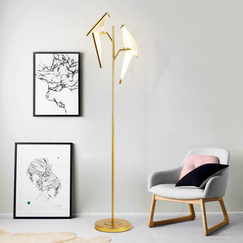 Nordic Modern Paper Crane Bird LED Floor Lamp Kit For Kids