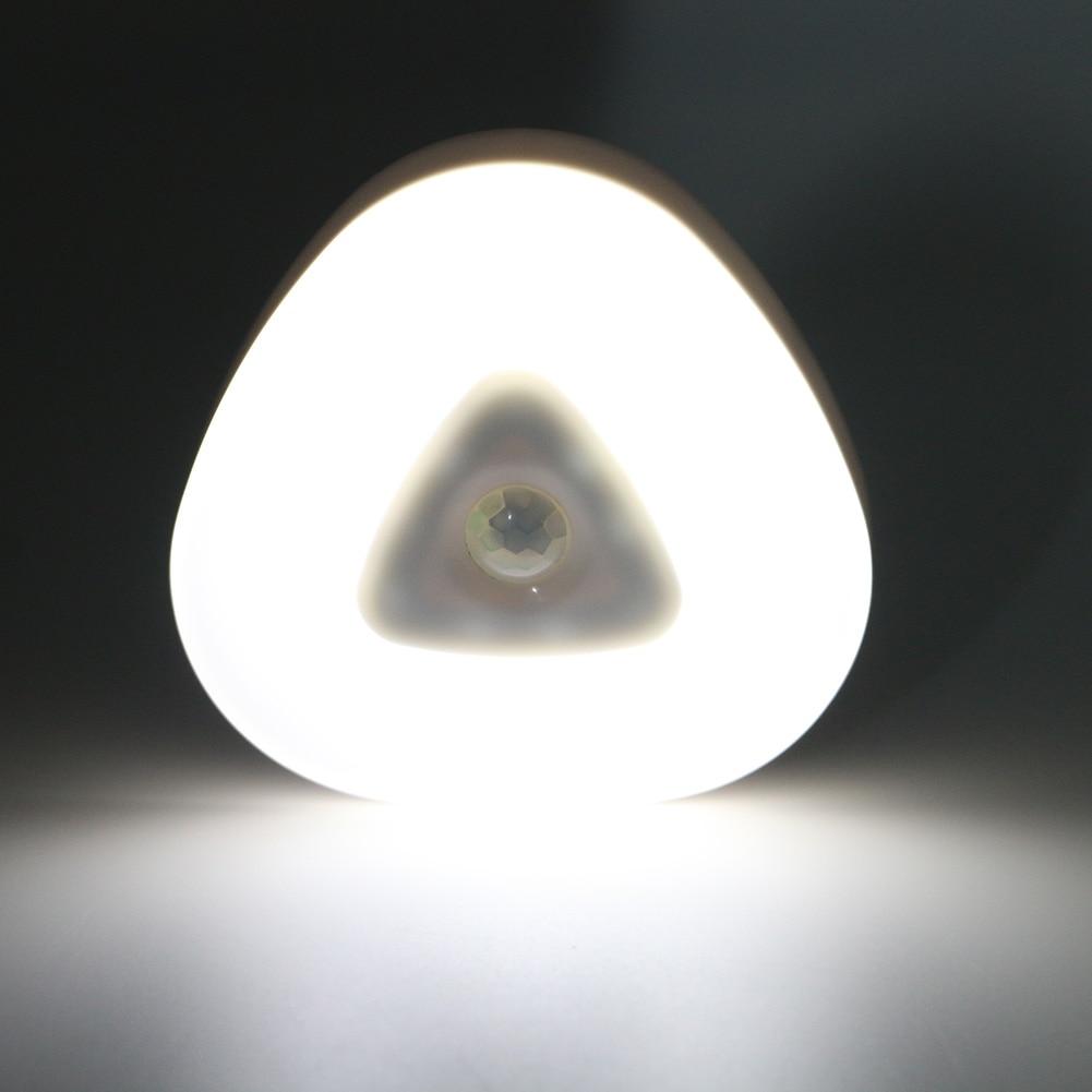 Eletorot Night Light Lamp triangular Circular Led PIR Motion Sensor Night Light 2 Modes Lamp Lights Using 3*AAA Battery 2016 modern light and pir motion sensor led night light table desk lamp ball shape atmosphere lights bedside lamps