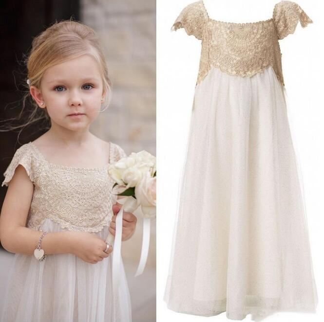 New First Communion Dresses for Girls Chiffon Flower Girls Dresses For Wedding Gowns Lace Sleeveless Mother Daughter Dresses