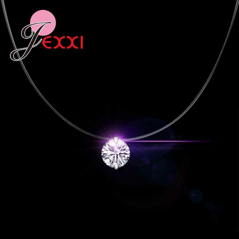 Prix de gros mode réel 925 chaînes en argent Sterling avec cristaux scintillants unique collier ras du cou pour les femmes filles