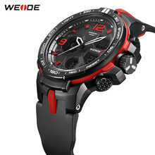WEIDE Men Sport Casual LCD Digital Quartz PU Strap Alarm Calendar Chronograph Wristwatch 30 Bar Water Resistant Electronic Clock(China)
