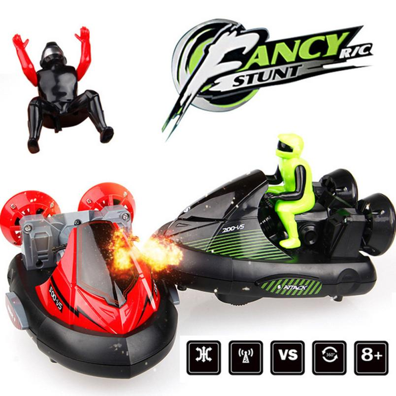 2 RC Battle Stunt Car Racer Bumper Vehicle with Drivers and Sound Pop up Combat Motor