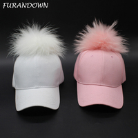 15cm Dyed Raccoon Fur Pom Poms Hat Hip Hop Fur Ball Snapback Baseball Caps Curved Cap