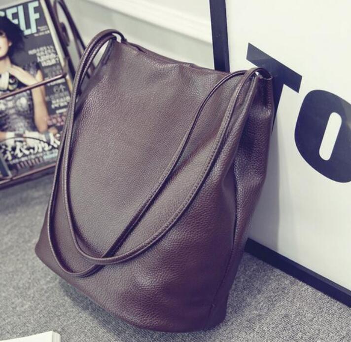 2016 Designer Women Leather Handbags Black Bucket Shoulder Bags Ladies Cross Body Bags Large Capacity Ladies Shopping Bag Bolsa