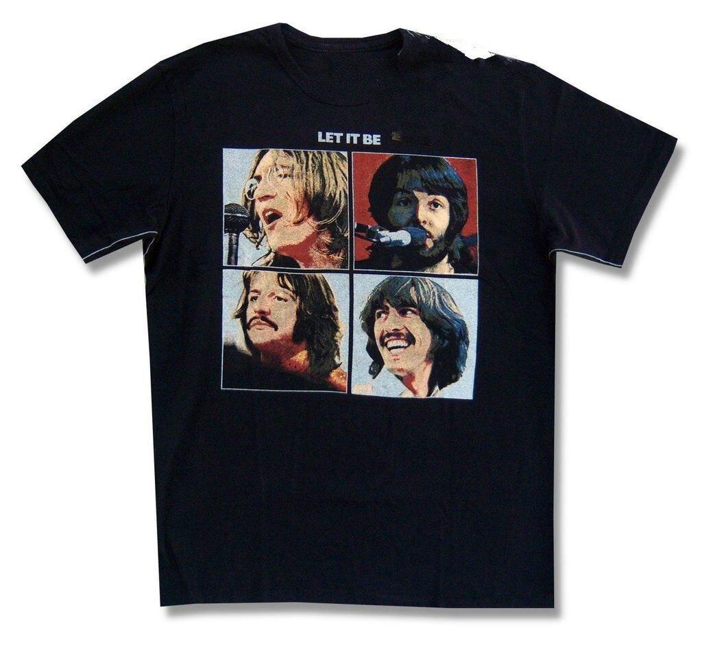 Die Beatles Stamm LTD Ließ Es Album Cover Erwachsene Schwarz T-shirt NEUE...