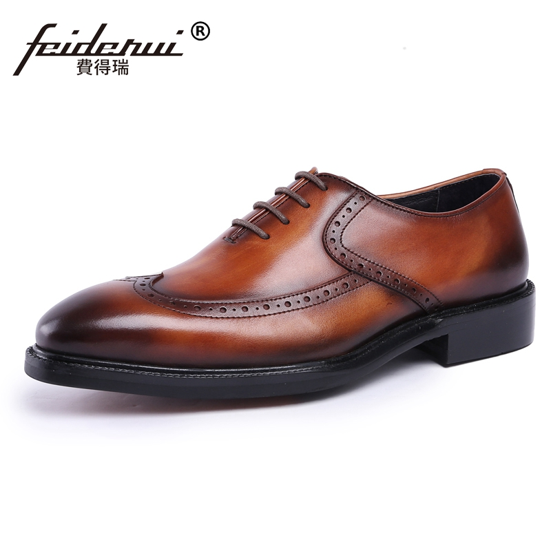 все цены на New Vintage Formal Dress Man Platform Carved Brogue Shoes Genuine Leather Round Toe Men's Handmade Wedding Party Oxfords JS80 онлайн