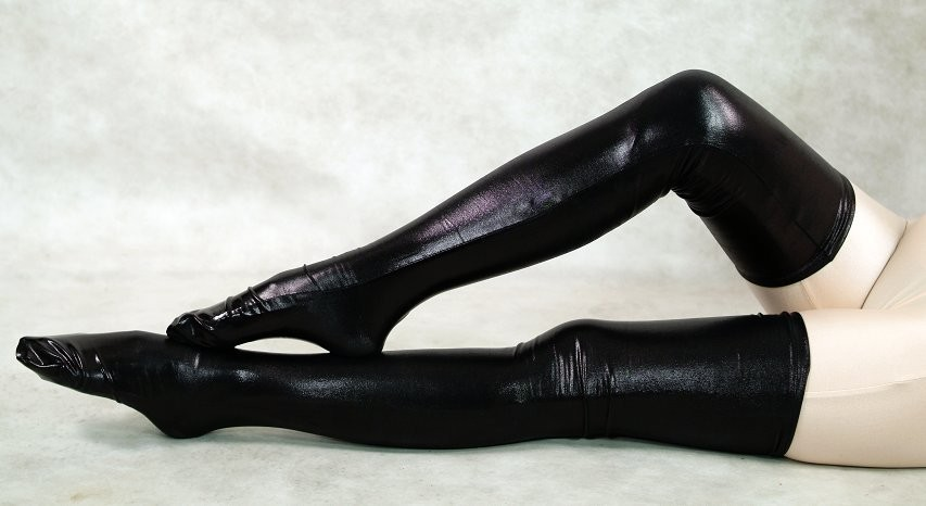 Woman Black Shiny Metallic Sexy Thigh High Socks Fetish -1547