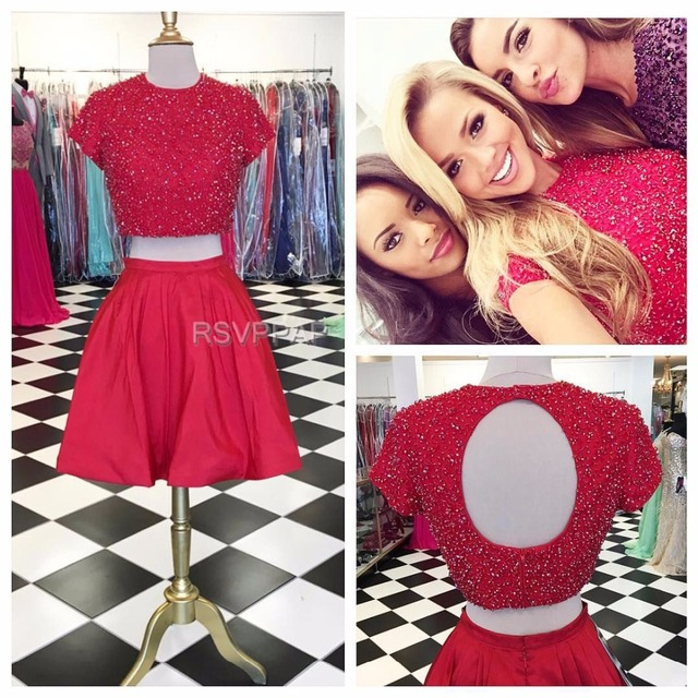 2f1a9f449195 8th Grade Prom Dresses Two Piece Red Short Sleeve Open Back Beaded Top  Stretch Satin Knee