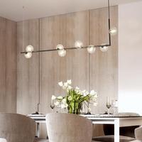 Lukloy 크리 에이 티브 디자인 led 장식 유리 매달려 램프 현대 간단한 공 샹들리에 침실 레스토랑 조명기구|샹들리에|   -