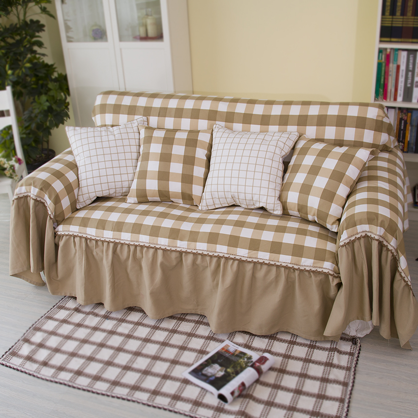 plaid sofa cover white and brown sofa cover cotton sofa cover pastoral sofa slipcover in sofa. Black Bedroom Furniture Sets. Home Design Ideas