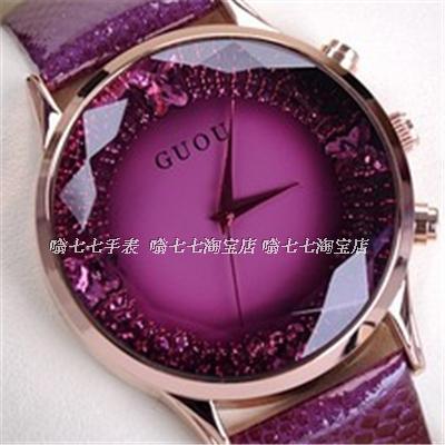 HK GUOU Brand Quartz Lady Watch Rhinestone Waterproof Women's Watch Genuine Leather Upscale Large Dial Luxury Gift Wristwatches