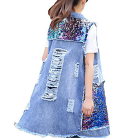 Large Size 2017 New Fashion Spring Summer Women Sequined Long Sleeveless Denim Vest Women Hole Denim