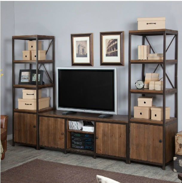 French rustic American Iron Wood Retro TV cabinet TV cabinet ...
