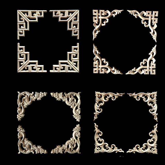 Natural Wood Appliques Flower Carving Decals Decorative Wooden Mouldings  For Cabinet Door Furniture Decor Decorative Figurines
