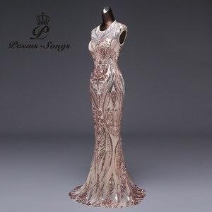 Image 2 - Vestido de noche de sirena de lujo, nuevo estilo, de lentejuelas, de fiesta, Sexy, sin espalda, largo