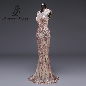 Image 2 - 新スタイルマーメイドイブニングドレス高級スパンコールウエディングドレスパーティードレス vestido デ · フェスタセクシーな背中のローブは longue vestido デ mujer