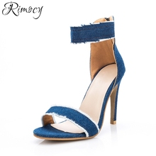 Rimocy ripped blue jeans ankle wrap women sandals gladitor super thin high heels back zip woman pumps fashion ladies denim shoes