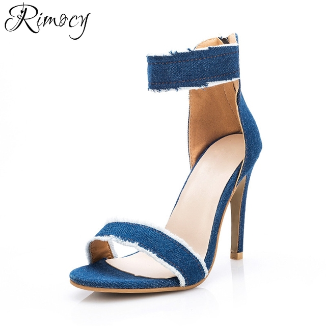Rimocy ripped blue jeans ankle wrap women sandals gladitor super thin high  heels back zip woman