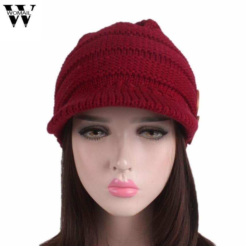 Womail Turban Brim Hat Female Solid Winter Knitting Cap Cotton Beret Hat Female Skullies Pile Cap NV24