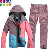 GSOU SNOW Brand Waterproof Ski Suit Women Ski Jacket Pants Winter Mountain Skiing Suit Ladies Outdoor