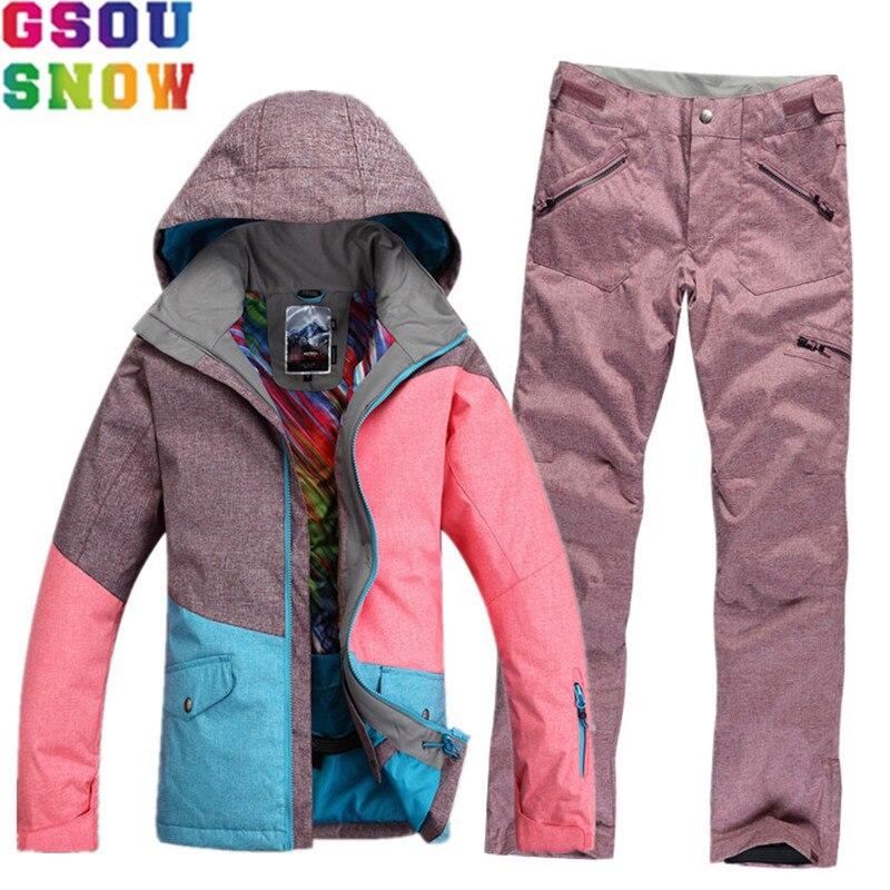 GSOU NEIGE Marque Étanche combinaison de Ski Femmes de Ski Veste Pantalon Hiver Montagne Ski Costume Dames En Plein Air Snowboard Veste Pantalon Ensemble