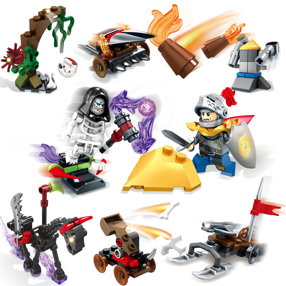 198+pcs Knight Skeleton Action Figures Building Blocks Compatible Legoed city Friend Enlighten Bricks Toys For children boy gift 2017 enlighten city bus building block sets bricks toys gift for children compatible with lepin