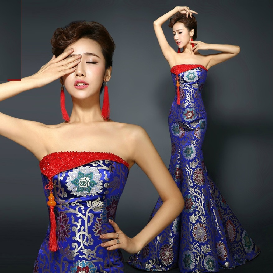 Tube Top Trailing Royal Blue Strapless Fishtail Cheongsam Wedding Dresses Brocade Long Traditional Chinese Qipao Evening Dress