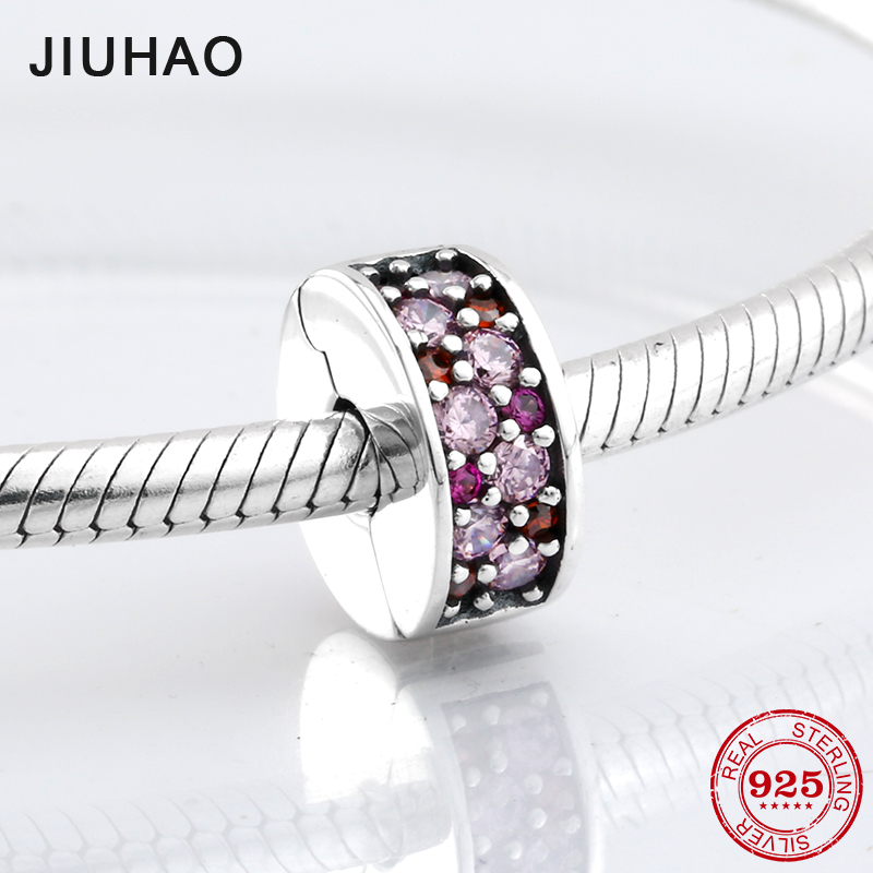 925 Sterling Silver Pink red sparking CZ clips Lock beads womens accessories Fit Original Pandora Charm Bracelet Jewelry making