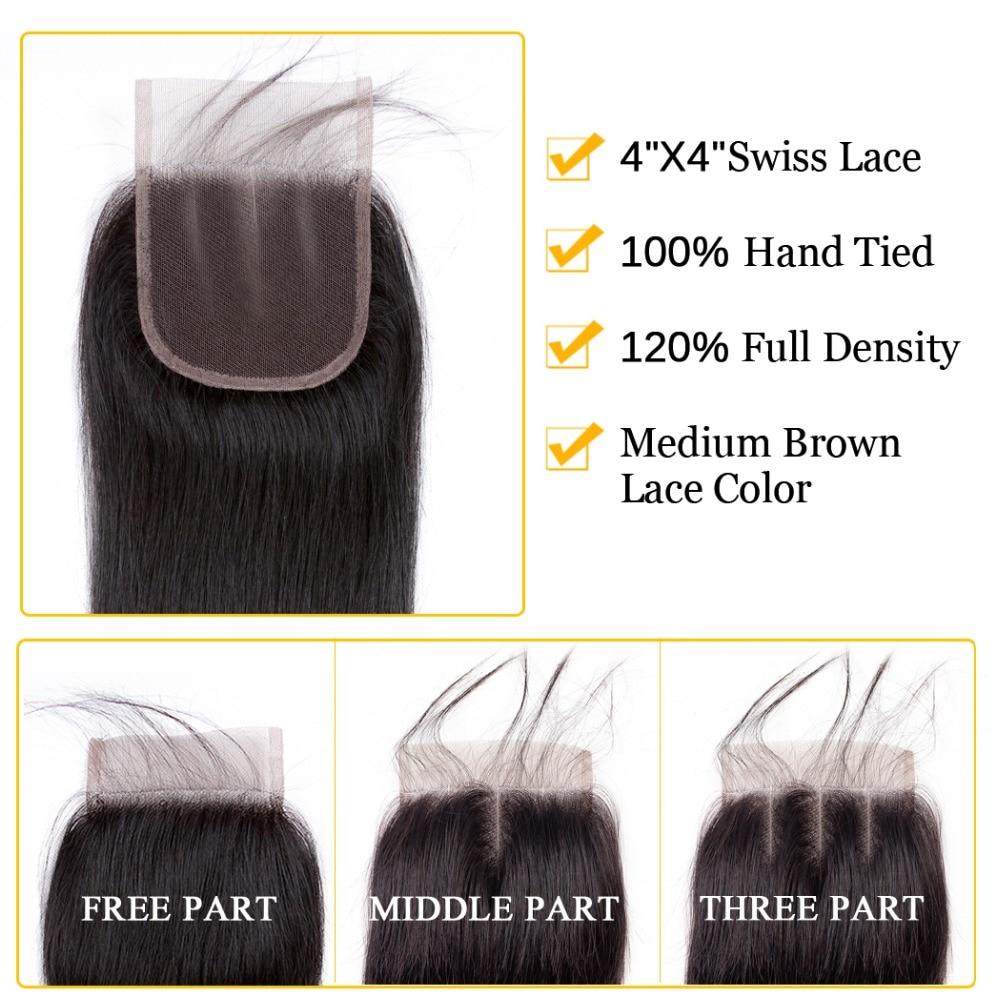 4x4 švicarske čipke srednji del perujske zaprtje naravnost remi - Človeški lasje (za črne) - Fotografija 2