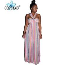 Rainbow Striped Summer Boho Beach Dress Women Off The Shoulder Backless Long Maxi Casual Spaghetti Strap Sleeveless