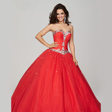 Sweetheart crystal beaded ball gown prom dresses 2015 champagne red 8th grade long quincenera lace up