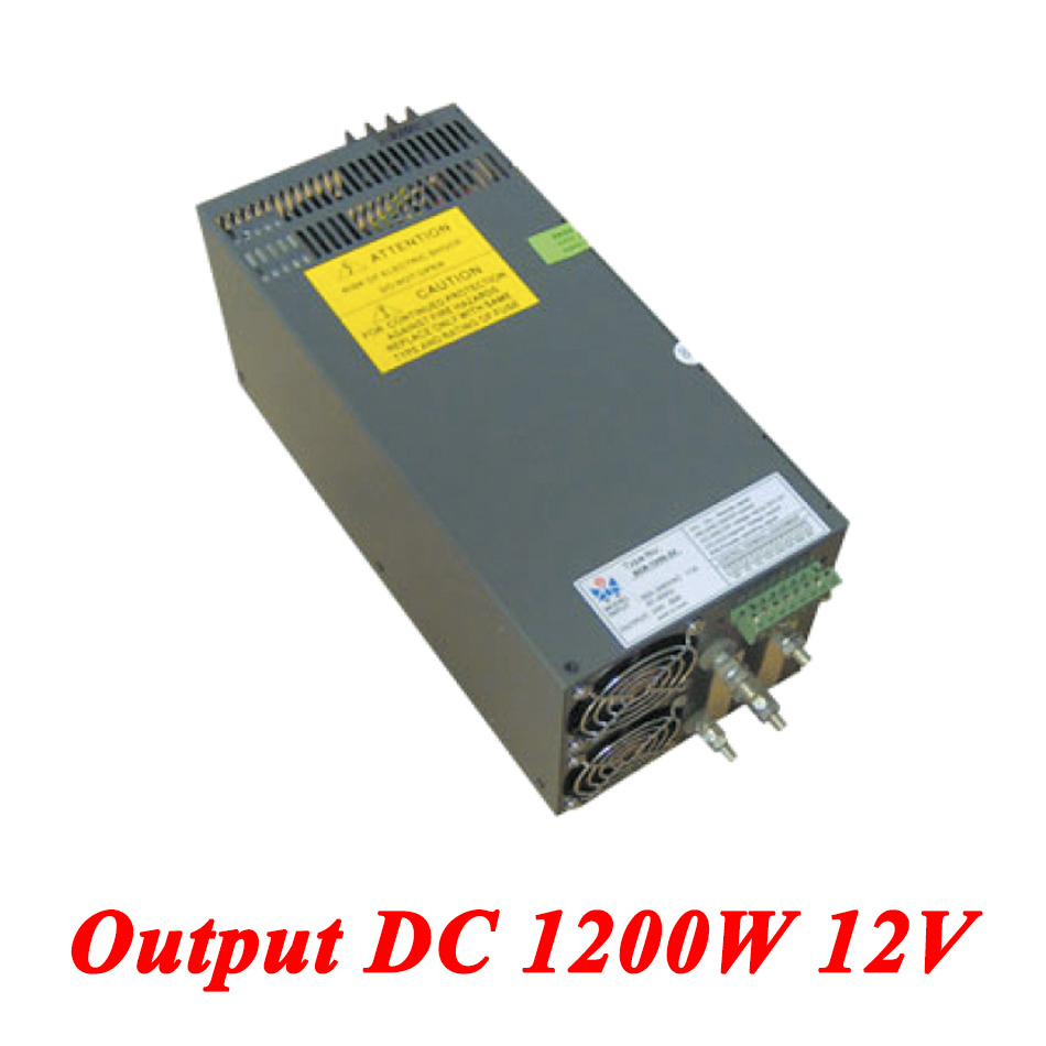 Scn-1200-12 switching power supply 1200W 12v 100A,Single Output ac-dc converter for Led Strip,AC110V/220V Transformer to DC 12V